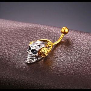 💀Skull belly ring,skull with headphones,skull